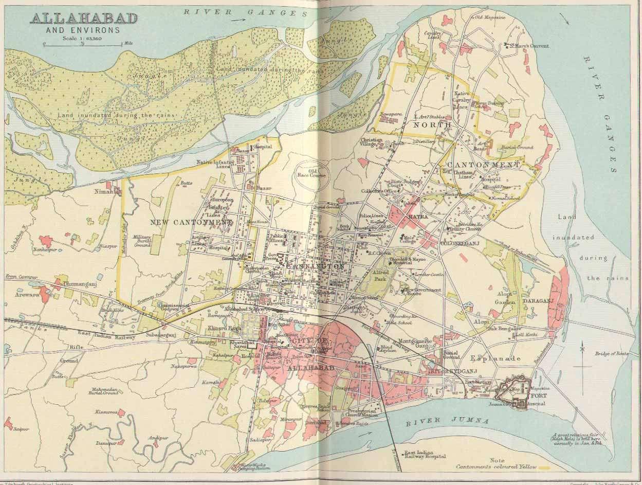 Thirtharaj Prayag Sangam Triveni Allahabad Maha Kumbh Mela Maps - Allahabad map